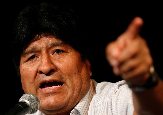 Ex-presidente boliviano Evo Morales durante coletiva de imprensa em Buenos Aires, Argentina, em 17 de dezembro de 2019
