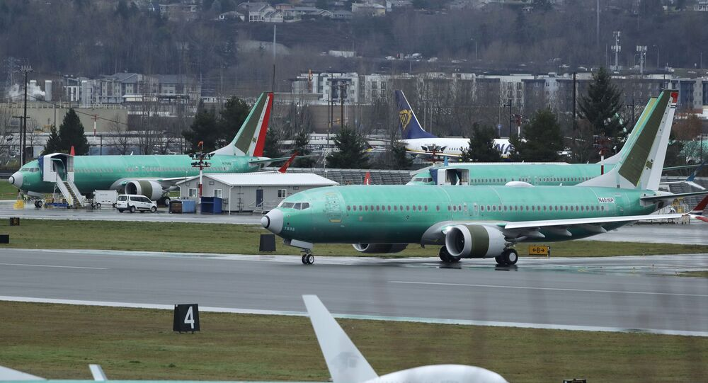 Avião 737 Max da Boeing no Aeroporto Municipal de Renton, Estados Unidos