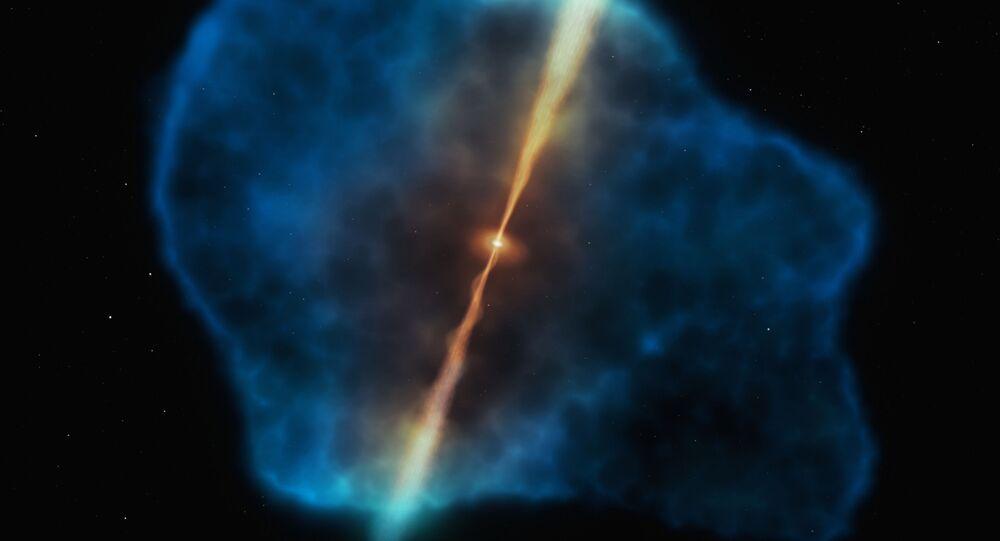 Halo de hidrogênio (azul) cercando o quasar (cor-de-laranja) nos primórdios do Universo