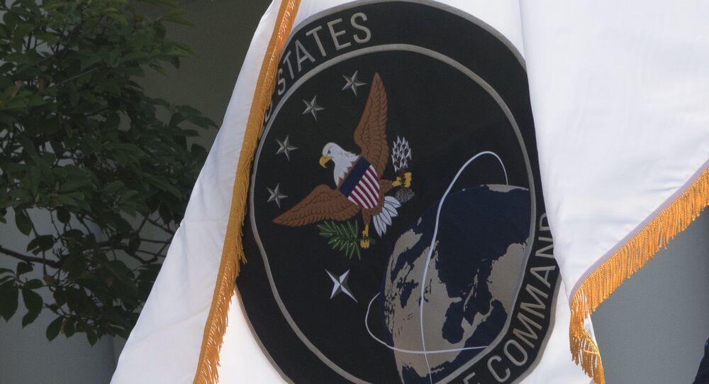 Bandeira do Comando Espacial dos EUA, recentemente transformado em Força Espacial