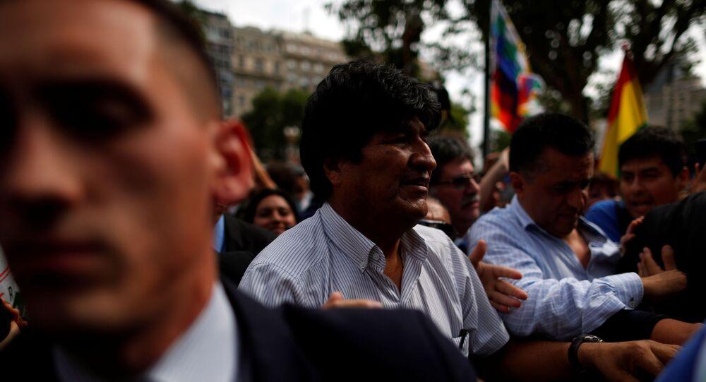 Ex-presidente da Bolívia, Evo Morales, em ato das Mães da Praça de Maio, em Buenos Aires, Argentina, em 26 de dezembro de 2019