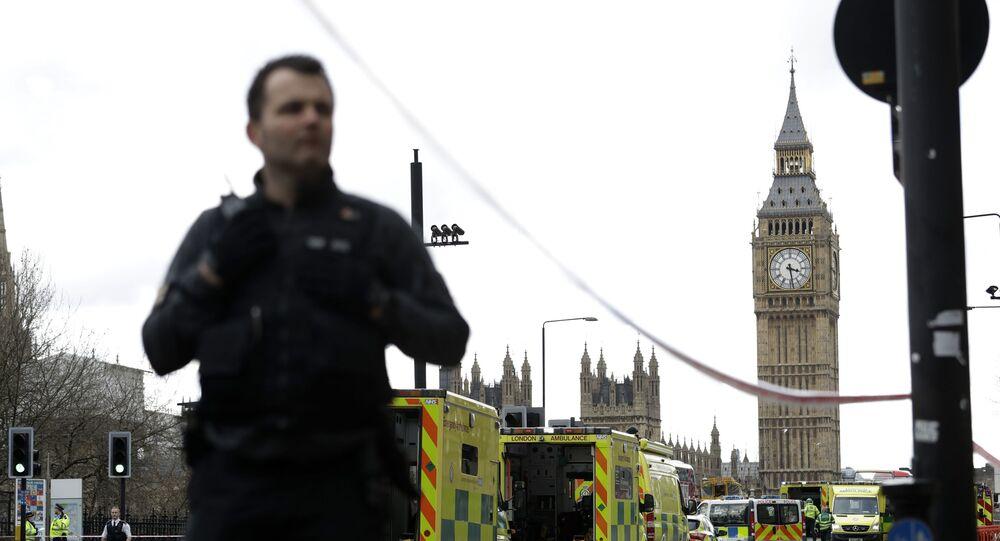 Polícia faz a segurança próximo ao Parlamento do Reino Unido, para que a MI5 faça varredura em incidente (foto de arquivo)