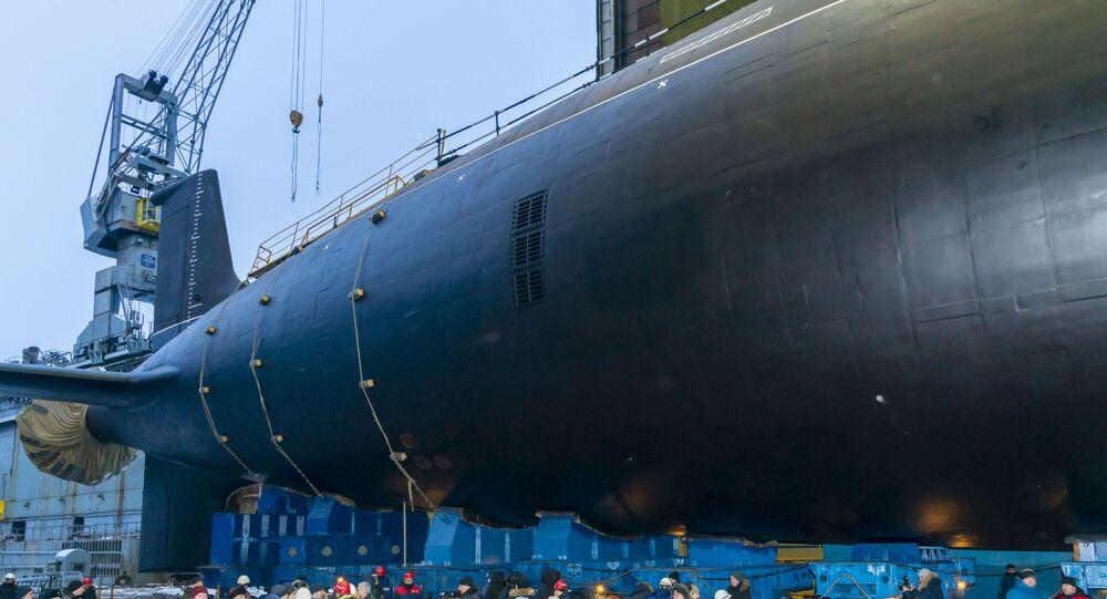 Lançamento ao mar do submarino nuclear do projeto Yasen-M em Severodvinsk