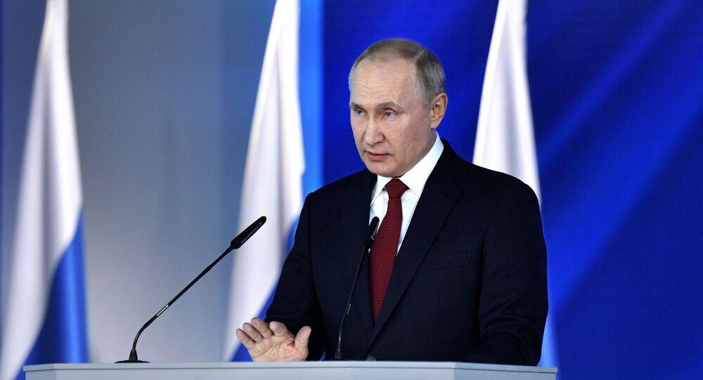 O presidente da Rússia, Vladimir Putin, discursa com sua mensagem anual à Assembleia Federal, em 15 de janeiro de 2020 (foto de arquivo)