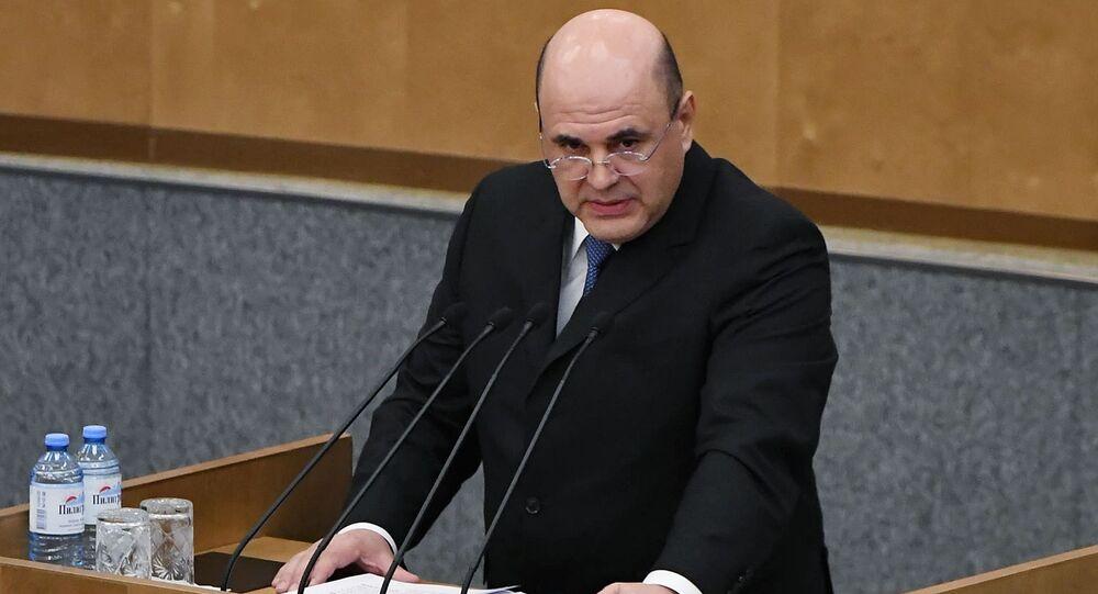 O primeiro-ministro da Rússia, Mikhail Mishustin, em discurso ao parlamento, em 16 de janeiro de 2020