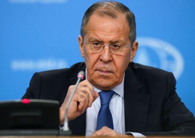 Ministro interino das Relações Exteriores da Rússia, Sergei Lavrov, durante conferência de imprensa sobre os resultados da política externa russa em 2019, em 17 de janeiro de 2020