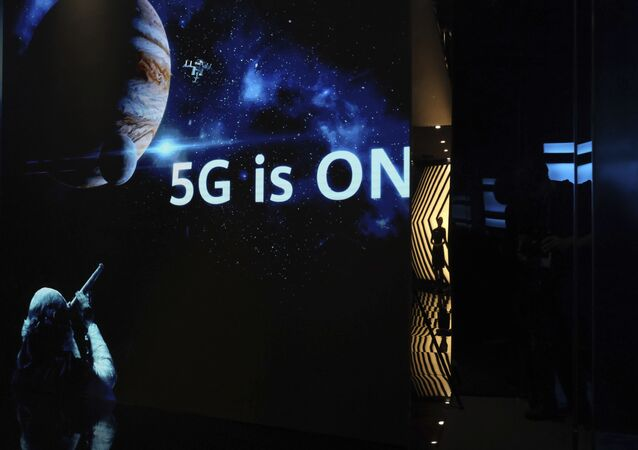 Exibição promovendo a tecnologia 5G da Huawei em Shenzhen, na província chinesa de Guangdong (Cantão), em 19 de agosto de 2019