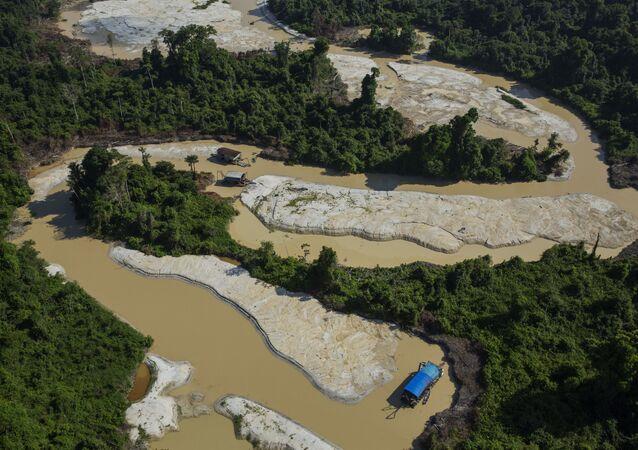 Balsas do tipo chupão garimpam no garimpo de ouro no rio Rato, afluente do Tapajós (PA)
