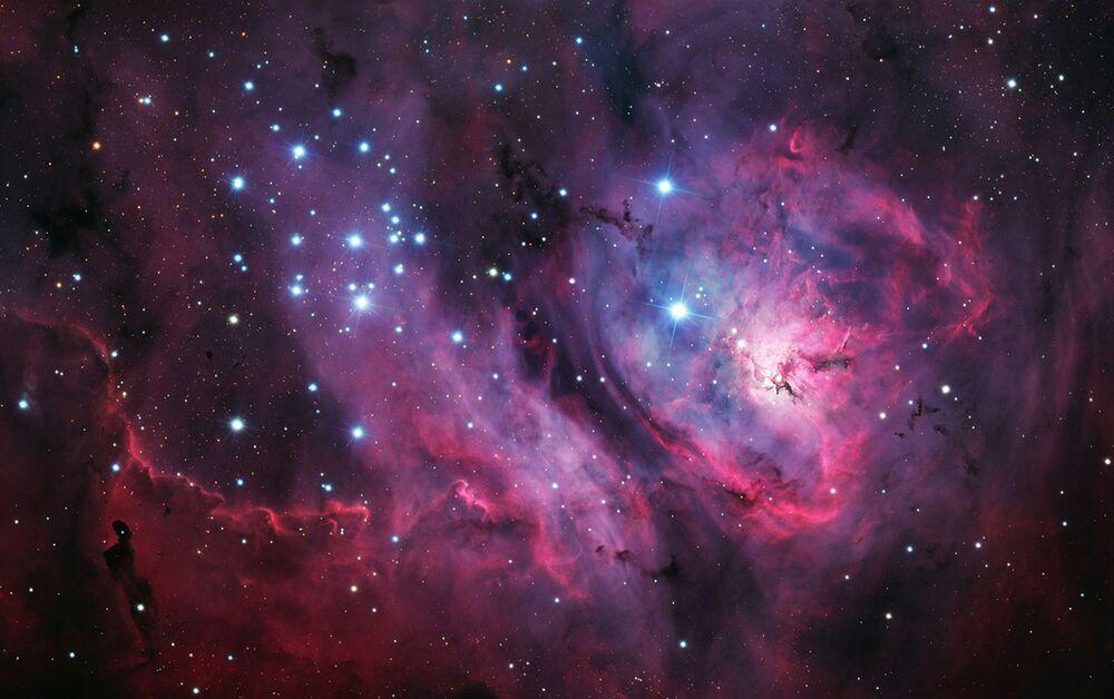 A foto de László Francsics Nebulosa Laguna situada na distância de cerca de 5.000 anos-luz da Terra.