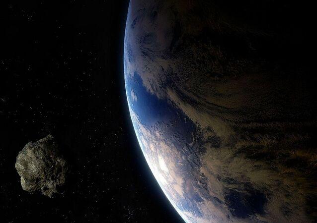 Asteroide se aproximando da Terra (representação gráfica)