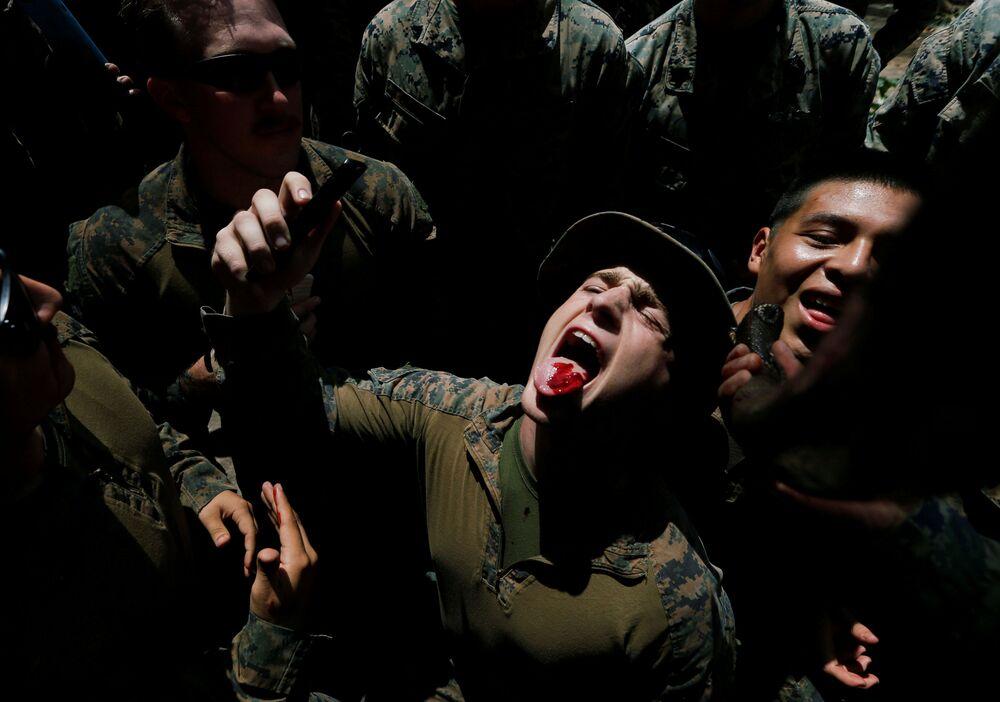 Militares norte-americanos bebem sangue de cobra na Tailândia