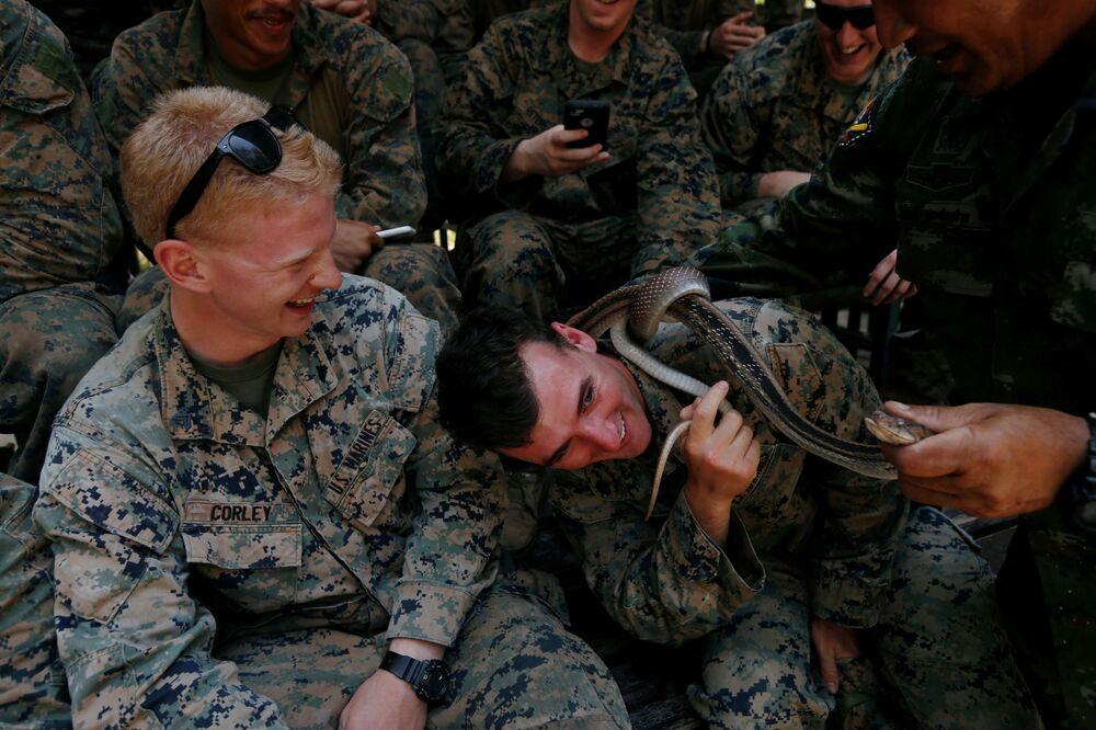 Soldado recebe cobra de instrutor militar na Tailândia