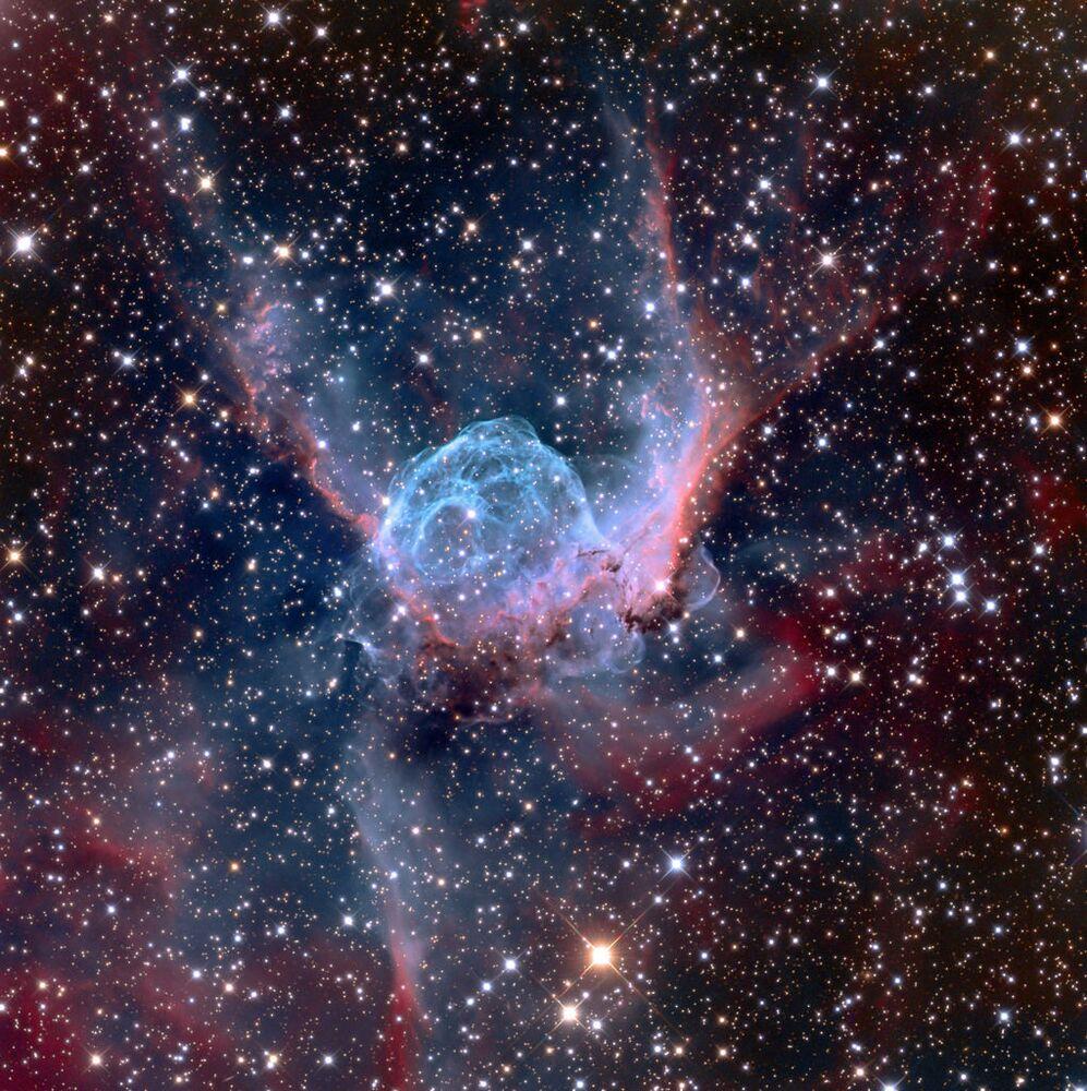 A foto de  Adam Block NGC 2359 é uma nebulosa na direção da constelação de Canis Major.