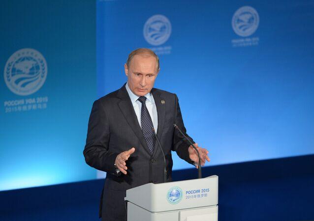 Vladímir Putin, presidente de Rusia en la conferencia de prensa