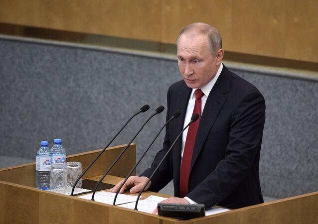 Presidente da Rússia, Vladimir Putin, durante discurso no parlamento russo, em Moscou, 10 de março de 2020