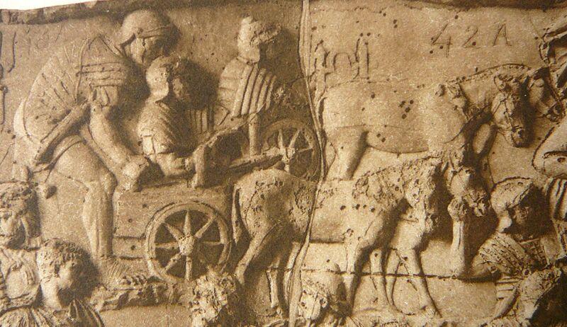 Balista romana montada sobre biga, Conrad Cichorius, Relevos da Coluna de Trajano, Placa XXXI
