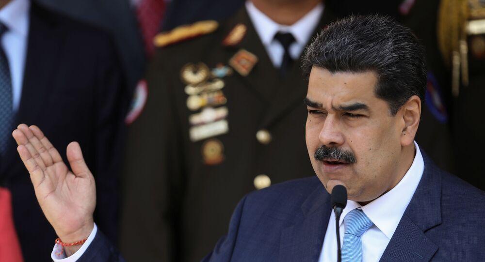 Presidente da Venezuela, Nicolás Maduro, durante coletiva de imprensa no Palácio Miraflores, em Caracas, Venezuela, 12 de março de 2020
