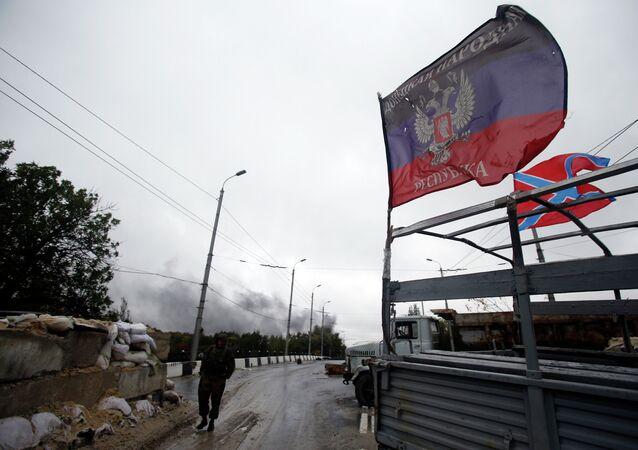 Posto de checagem da autoproclamada República Popular de Donetsk