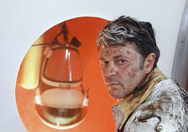 Ator Donatas Banionis durante as filmagens de Solaris, de Andrei Tarkovsky