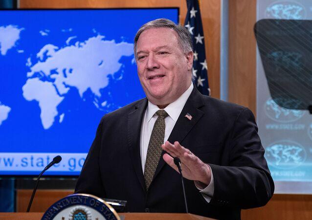 Secretário de Estado dos EUA, Mike Pompeo, durante coletiva de imprensa em Washington (imagem referencial)