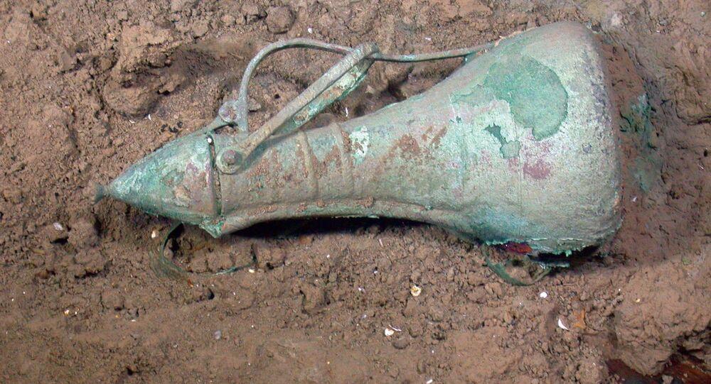 Garrafa produzida na última dinastia da Era Ming, na China