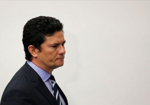 O ex-ministro da Justiça e Segurança Pública, Sergio Moro, durante pronunciamento em que anunciou sua saída do governo.
