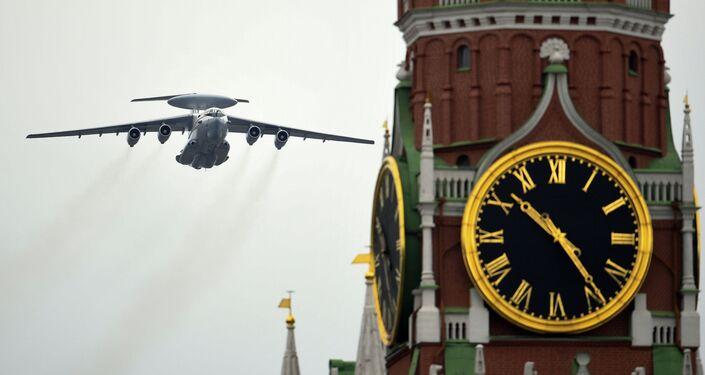 Sistema Aéreo de Alerta e Controle A-50 durante o desfile do Dia da Vitória em Moscou