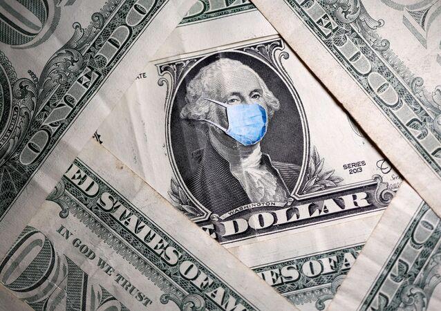 George Washington usando máscara médica na nota de um dólar