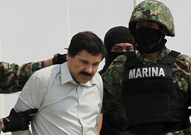 """Joaquín Guzmán, """"El Chapo"""", quando foi preso em fevereiro de 2014."""