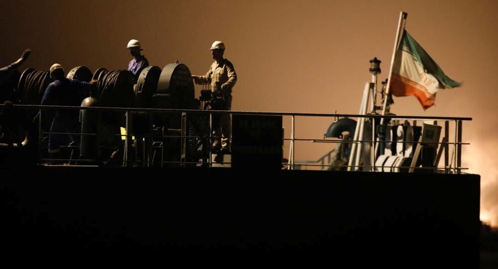 Petroleiro iraniano Fortune durante a chegada à refinaria El Palito, em Puerto Cabello, Venezuela, em 25 de maio de 2020