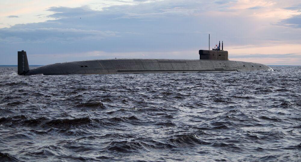Knyaz Vladimir, um submarino nuclear do projeto 955A (Borei-A), dotado de mísseis estratégicos, na base naval de Severodvinsk