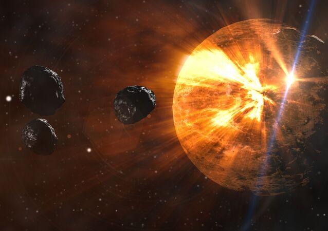 Impressão artística de asteroides caindo em planeta.