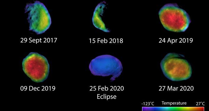 Seis vistas do satélite marciano Fobos
