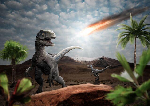 Impressão artística do fim dos dinossauros