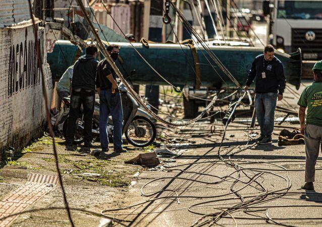 Passagem de ciclone deixa estrago em Santa Catarina