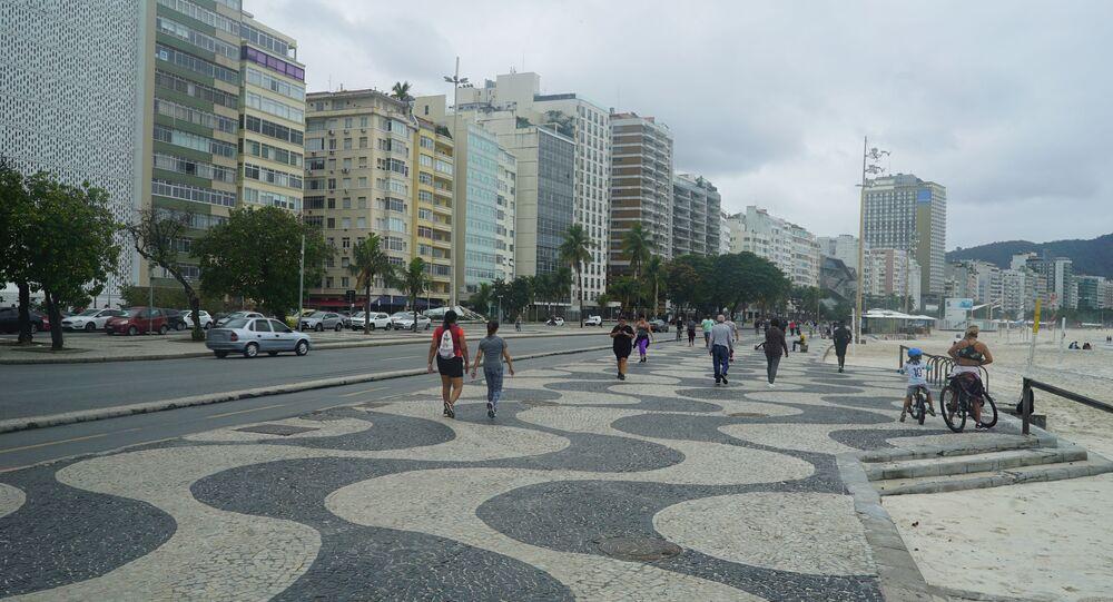 Praia de Copacabana, Zona Sul do Rio de Janeiro, em 4 de julho de 2020