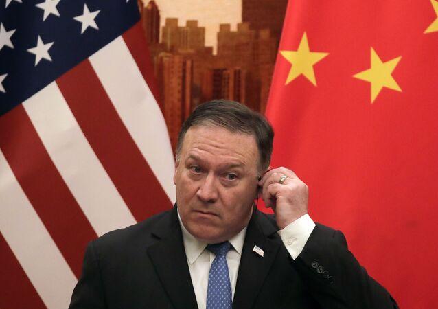 Secretário de Estado dos EUA, Mike Pompeo, participa de uma coletiva em Pequim, na China