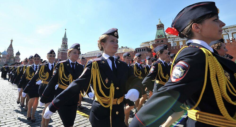 Graduação de mulheres na Universidade de Moscou do Ministério de Assuntos Internos da Rússia