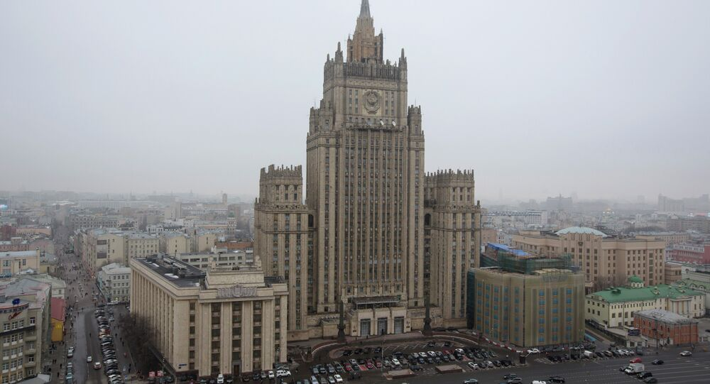 Vista do edifício do Ministério das Relações Exteriores russo em Moscou, Rússia