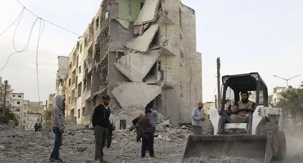 Destroços na província síria de Idlib, uma das mais afetadas pelos conflitos no país