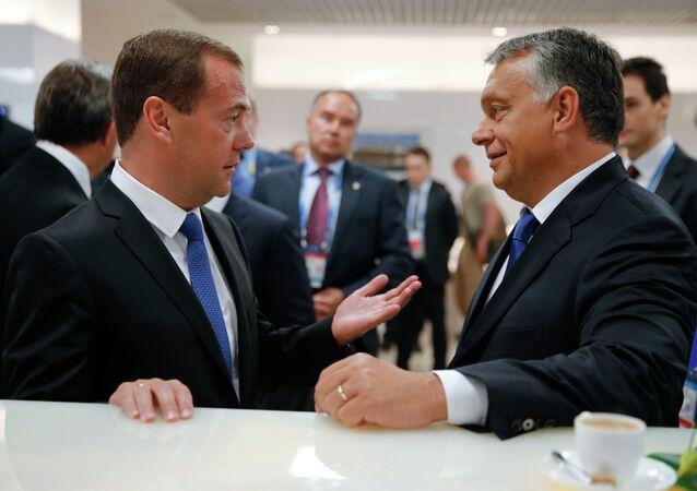 Russian Prime Minister Dmitry Medvedev and Hungarian Prime Minister Viktor Orban