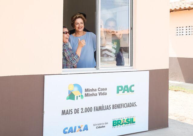 Dilma Rousseff durante cerimônia de entrega de unidades habitacionais do Programa Minha Casa, Minha Vida, em 10 de agosto de 2015