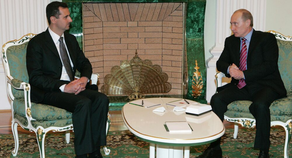 Bashar Assad, presidente da Síria, e Vladimir Putin, presidente da Rússia, no Kremlin