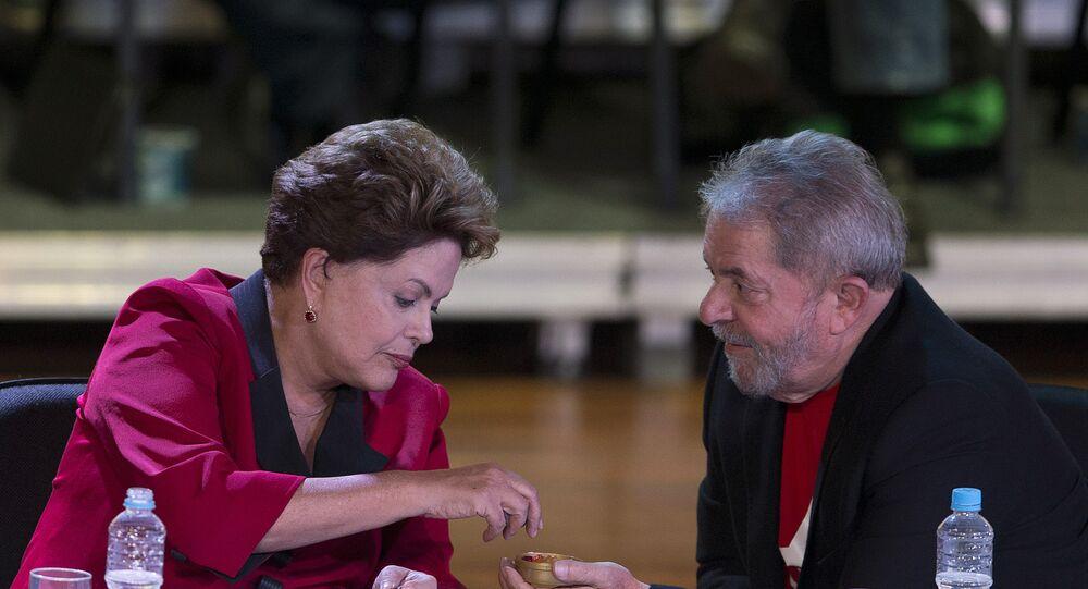 Dilma Rousseff e Luís Inácio Lula da Silva durante encontro da cúpula do PT em São Paulo
