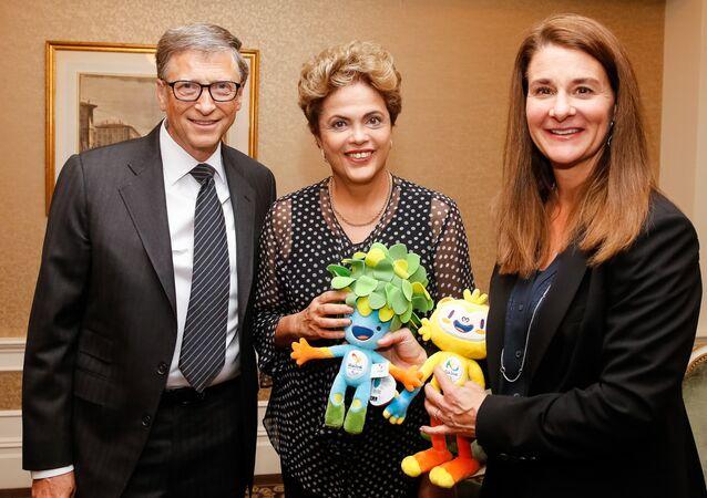 Presidenta do Brasil, Dilma Rousseff, em encontro com Bill Gates e Melinda Gates em Nova York