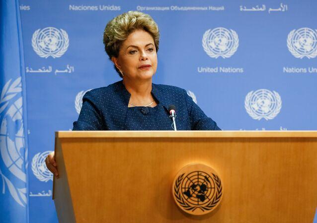 Presidenta Dilma Rousseff durante coletiva de imprensa na ONU