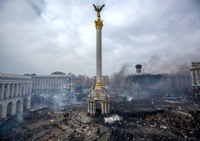 Protesto na Praça Maidan em Kiev, 22 de fevereiro