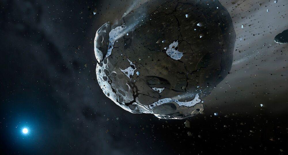 Imagem dum asteroide de pedra e gelo criada por um artista