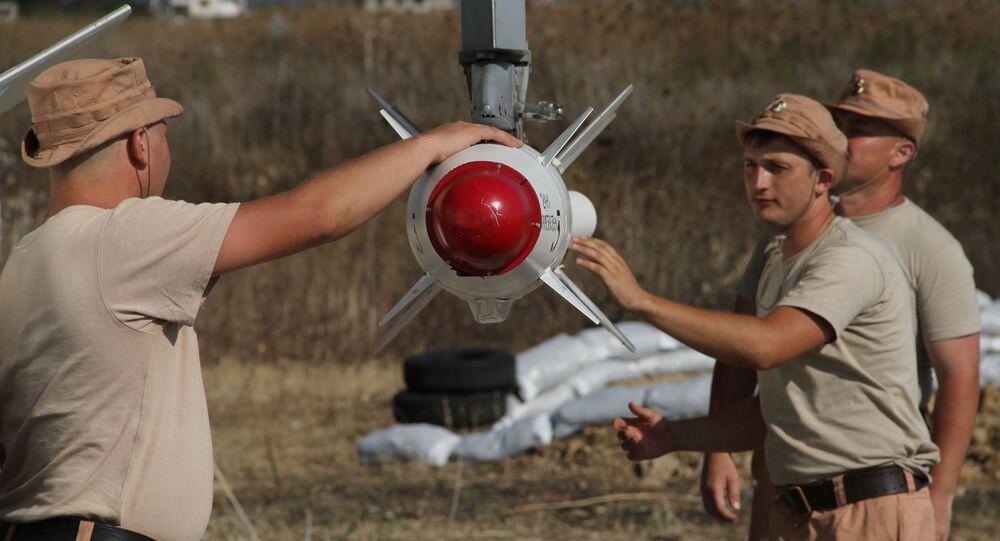 Militares russos na base aérea de Hmeymim, na Síria