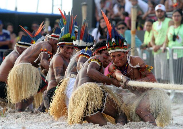 Disputa do cabo de guerra, modalidade que será disputada no I Jogos Mundiais dos Povos Indígenas.